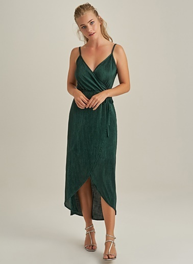 Ng Style Pliseli Askılı Elbise Yeşil